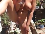 Amateur pee in backyard
